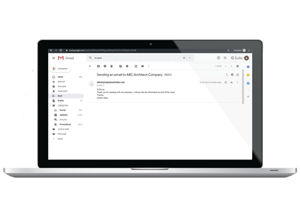see sent emails in gmail
